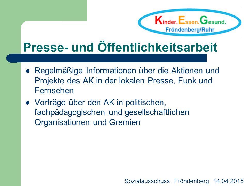 Presse- und Öffentlichkeitsarbeit Regelmäßige Informationen über die Aktionen und Projekte des AK in der lokalen Presse, Funk und Fernsehen Vorträge ü