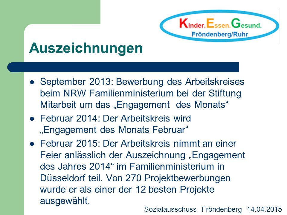 """Auszeichnungen September 2013: Bewerbung des Arbeitskreises beim NRW Familienministerium bei der Stiftung Mitarbeit um das """"Engagement des Monats"""" Feb"""