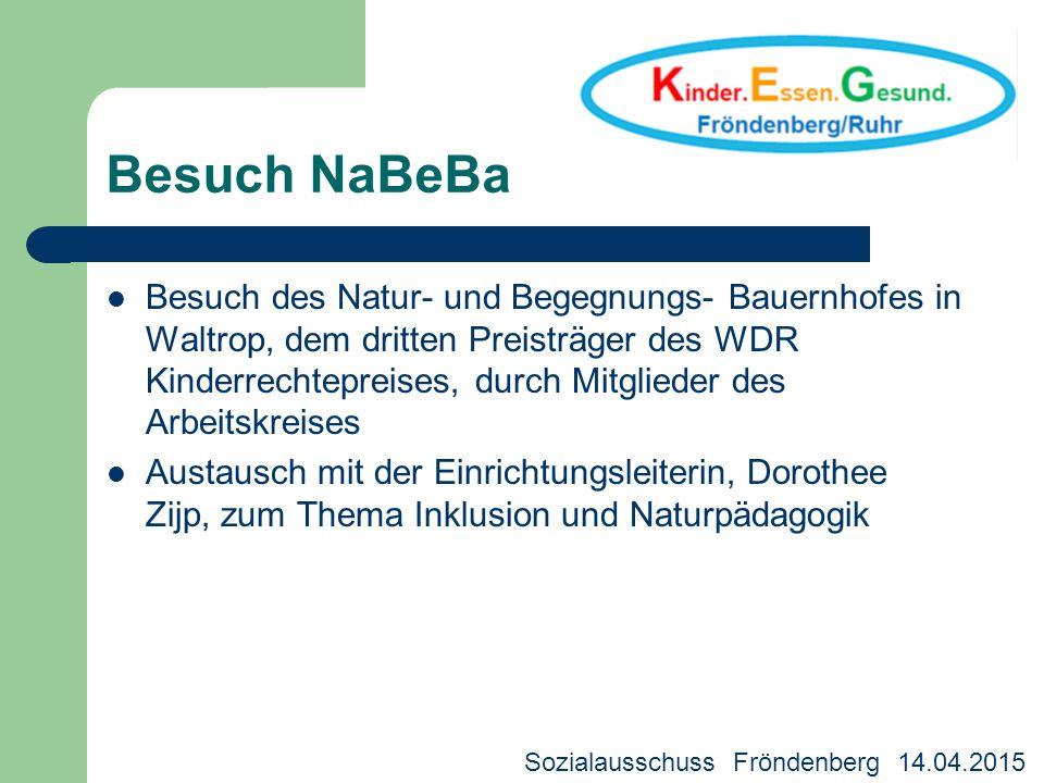 Besuch NaBeBa Besuch des Natur- und Begegnungs- Bauernhofes in Waltrop, dem dritten Preisträger des WDR Kinderrechtepreises, durch Mitglieder des Arbe