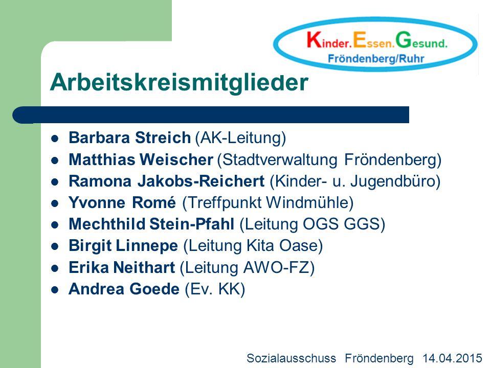 Arbeitskreismitglieder Barbara Streich (AK-Leitung) Matthias Weischer (Stadtverwaltung Fröndenberg) Ramona Jakobs-Reichert (Kinder- u. Jugendbüro) Yvo
