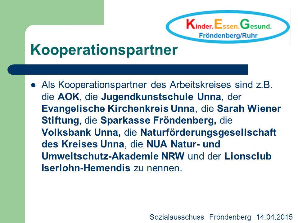Kooperationspartner Als Kooperationspartner des Arbeitskreises sind z.B. die AOK, die Jugendkunstschule Unna, der Evangelische Kirchenkreis Unna, die