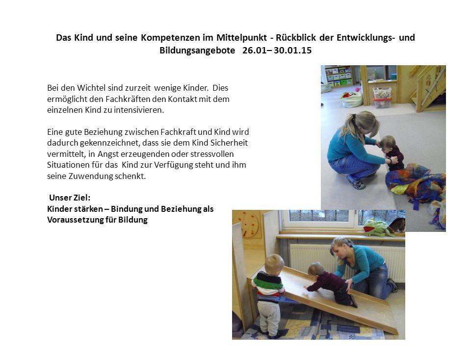Das Kind und seine Kompetenzen im Mittelpunkt - Rückblick der Entwicklungs- und Bildungsangebote 26.01– 30.01.15 Für zwei Wichtel ist nun die Zeit gekommen in den Kindergarten zu wechseln.