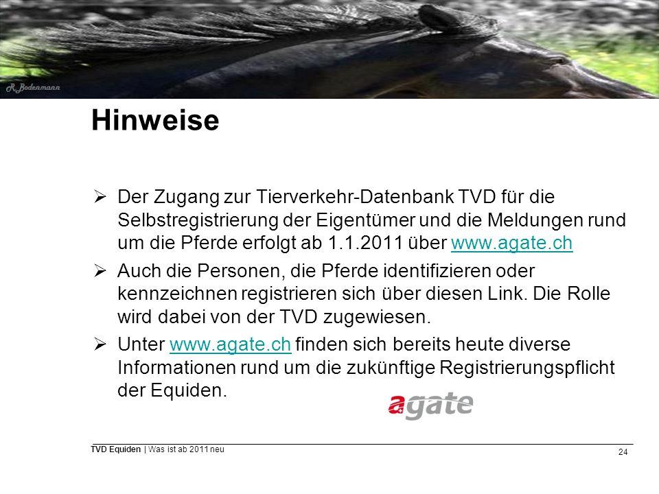 24 TVD Equiden | Was ist ab 2011 neu Hinweise  Der Zugang zur Tierverkehr-Datenbank TVD für die Selbstregistrierung der Eigentümer und die Meldungen