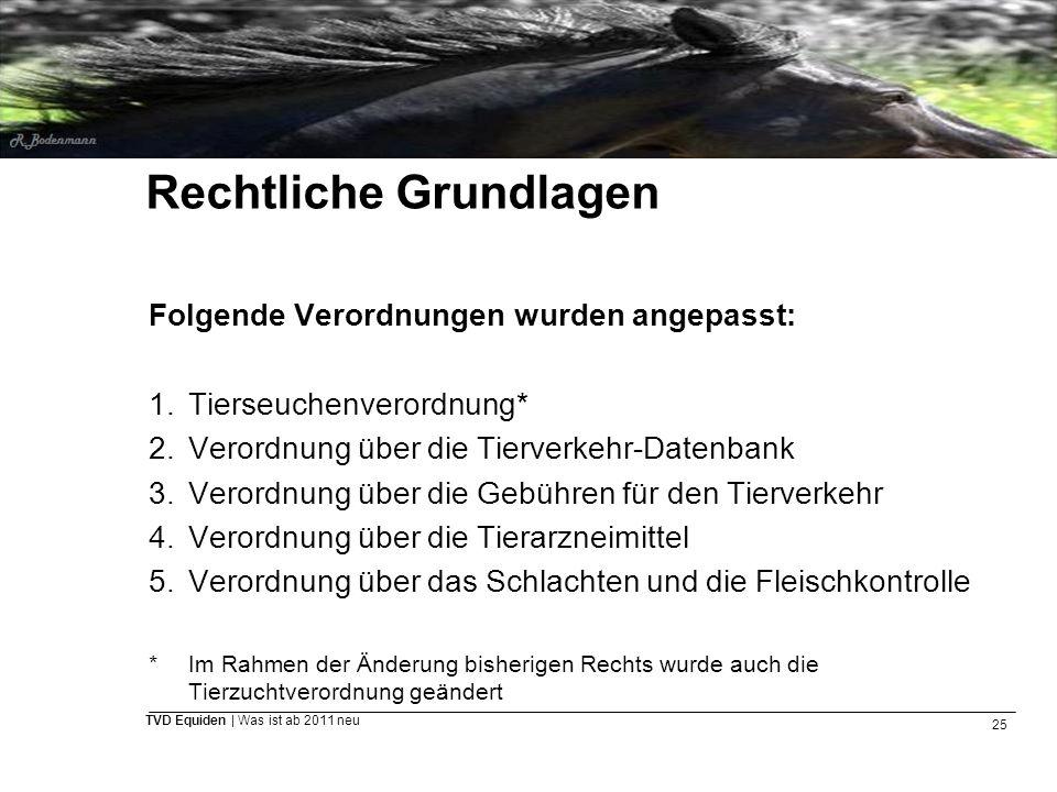 25 TVD Equiden | Was ist ab 2011 neu Rechtliche Grundlagen Folgende Verordnungen wurden angepasst: 1.Tierseuchenverordnung* 2.Verordnung über die Tier