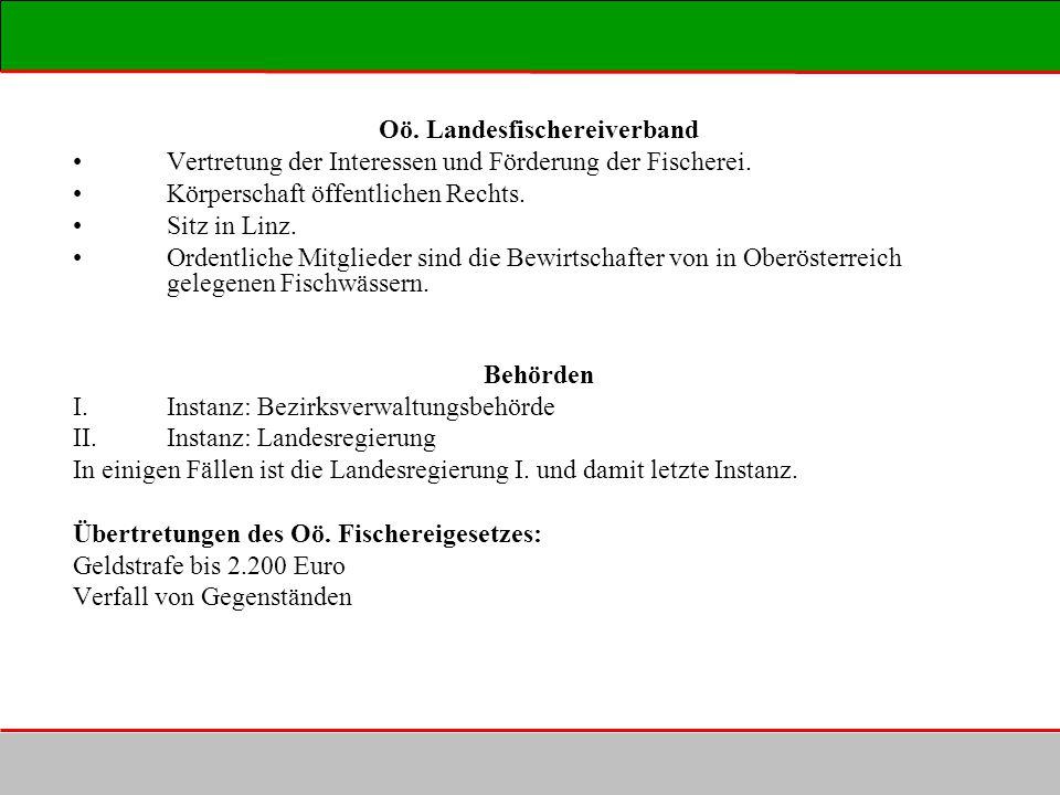 Oö. Landesfischereiverband Vertretung der Interessen und Förderung der Fischerei. Körperschaft öffentlichen Rechts. Sitz in Linz. Ordentliche Mitglied