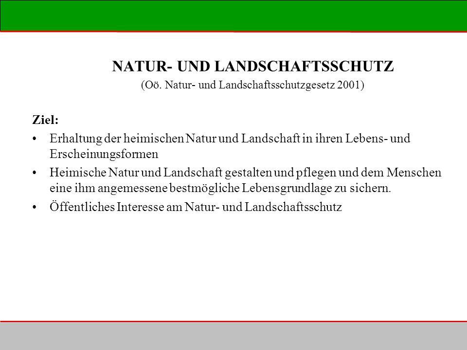 NATUR- UND LANDSCHAFTSSCHUTZ (Oö. Natur- und Landschaftsschutzgesetz 2001) Ziel: Erhaltung der heimischen Natur und Landschaft in ihren Lebens- und Er