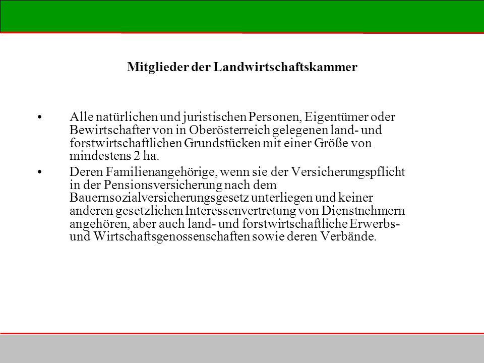 Mitglieder der Landwirtschaftskammer Alle natürlichen und juristischen Personen, Eigentümer oder Bewirtschafter von in Oberösterreich gelegenen land-
