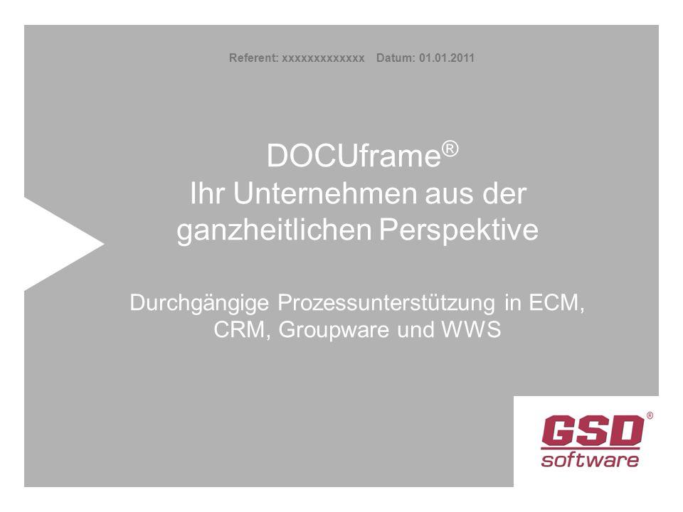 DOCUframe ® Ihr Unternehmen aus der ganzheitlichen Perspektive Durchgängige Prozessunterstützung in ECM, CRM, Groupware und WWS Referent: xxxxxxxxxxxxx Datum: 01.01.2011