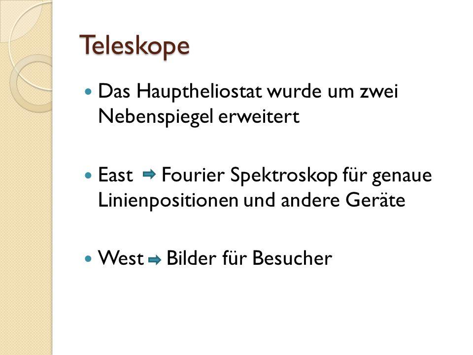 Teleskope Das Hauptheliostat wurde um zwei Nebenspiegel erweitert East Fourier Spektroskop für genaue Linienpositionen und andere Geräte West Bilder für Besucher