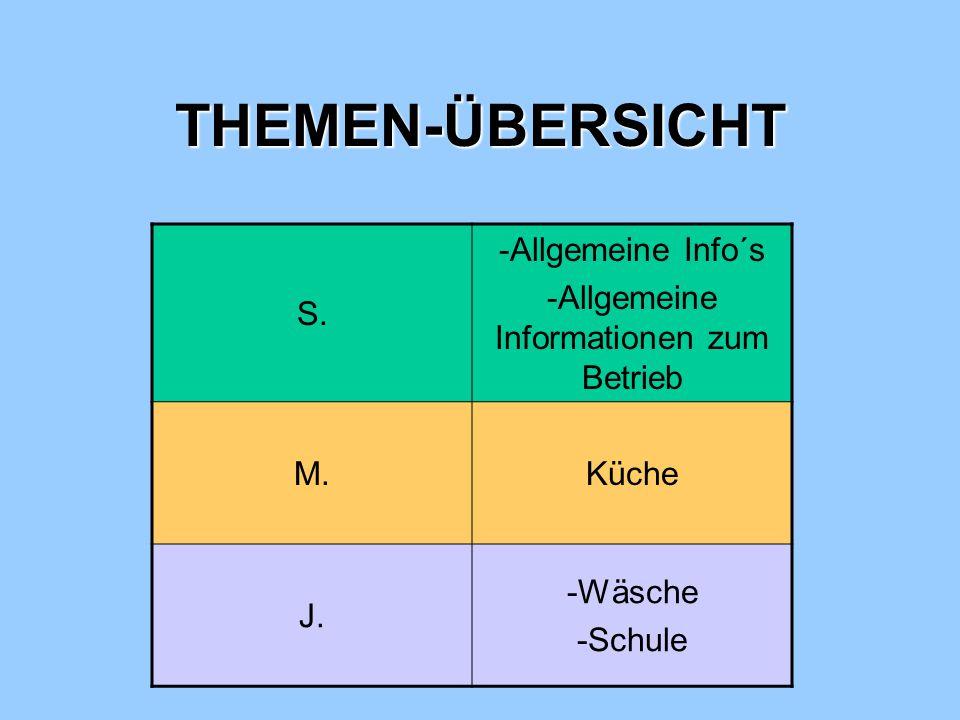 THEMEN-ÜBERSICHT S.-Allgemeine Info´s -Allgemeine Informationen zum Betrieb M.Küche J.