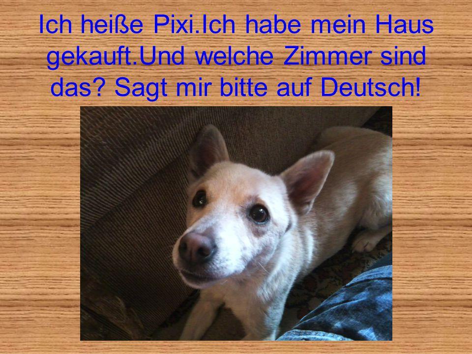 Ich heiße Pixi.Ich habe mein Haus gekauft.Und welche Zimmer sind das? Sagt mir bitte auf Deutsch!