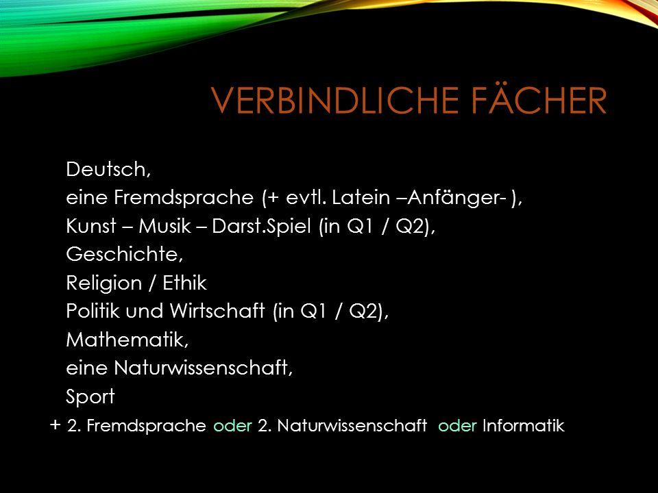 VERBINDLICHE FÄCHER Deutsch, eine Fremdsprache (+ evtl.