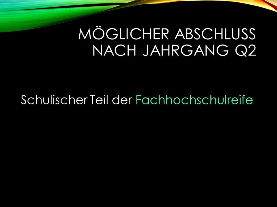 MÖGLICHER ABSCHLUSS NACH JAHRGANG Q2 Schulischer Teil der Fachhochschulreife