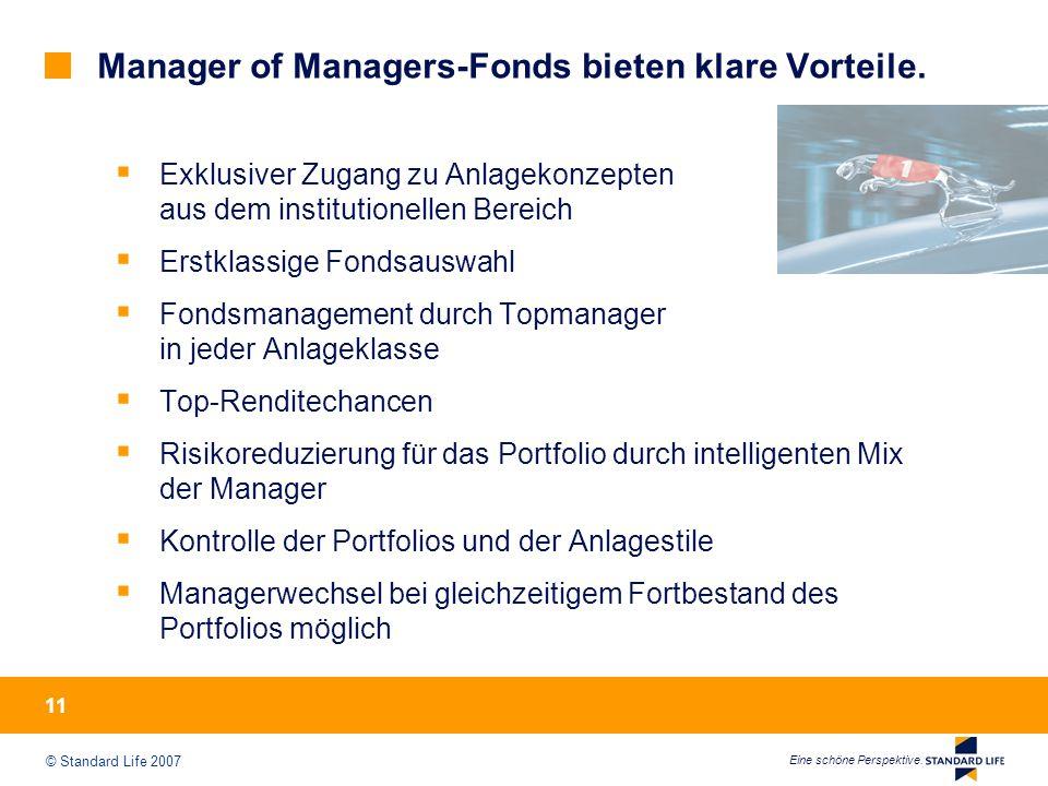 © Standard Life 2007 Eine schöne Perspektive. 11 Manager of Managers-Fonds bieten klare Vorteile.