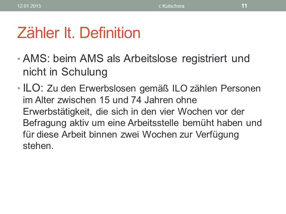 Zähler lt. Definition AMS: beim AMS als Arbeitslose registriert und nicht in Schulung ILO: Zu den Erwerbslosen gemäß ILO zählen Personen im Alter zwis