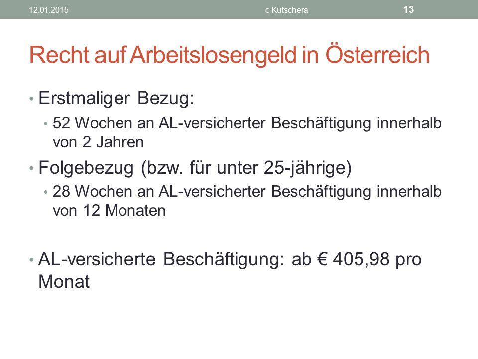 Recht auf Arbeitslosengeld in Österreich Erstmaliger Bezug: 52 Wochen an AL-versicherter Beschäftigung innerhalb von 2 Jahren Folgebezug (bzw. für unt