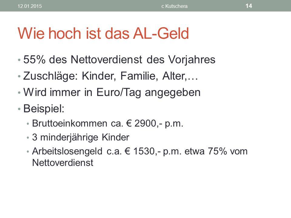 Wie hoch ist das AL-Geld 55% des Nettoverdienst des Vorjahres Zuschläge: Kinder, Familie, Alter,… Wird immer in Euro/Tag angegeben Beispiel: Bruttoein