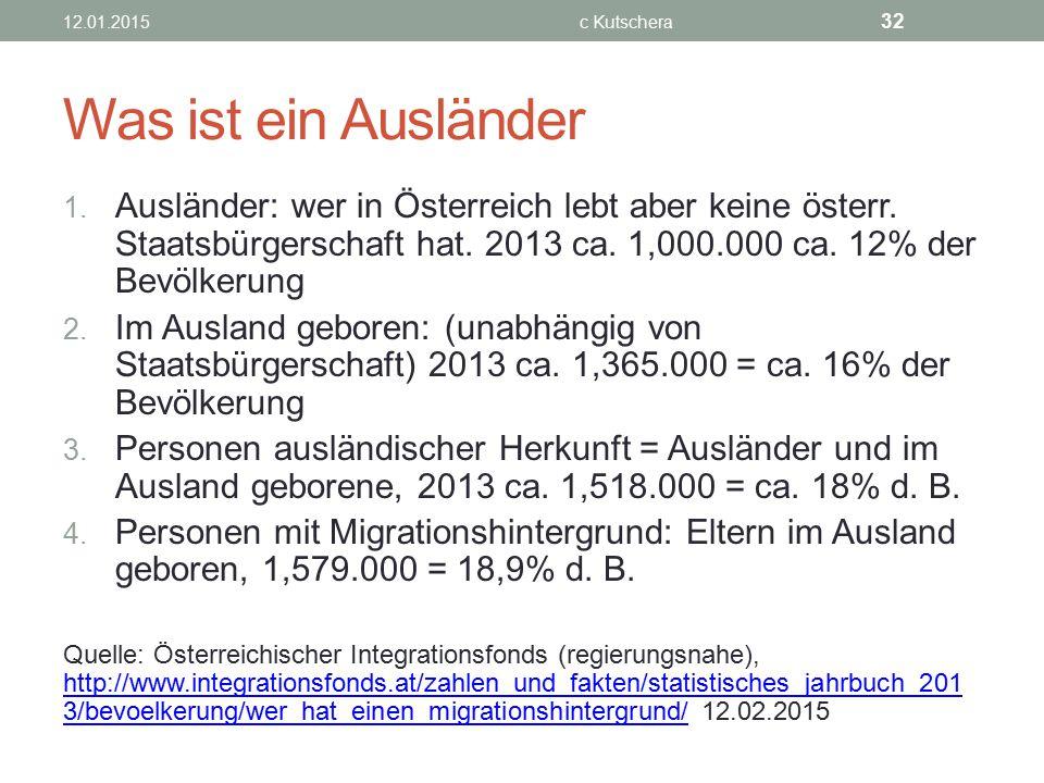 Was ist ein Ausländer 1. Ausländer: wer in Österreich lebt aber keine österr. Staatsbürgerschaft hat. 2013 ca. 1,000.000 ca. 12% der Bevölkerung 2. Im