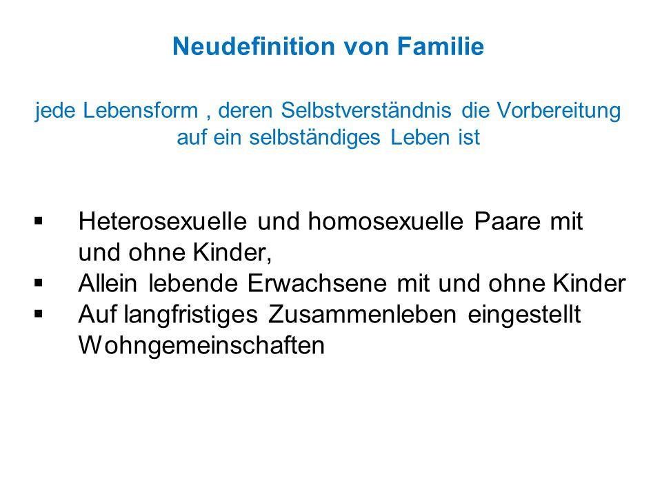 Neudefinition von Familie jede Lebensform, deren Selbstverständnis die Vorbereitung auf ein selbständiges Leben ist  Heterosexuelle und homosexuelle