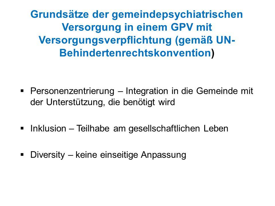 Grundsätze der gemeindepsychiatrischen Versorgung in einem GPV mit Versorgungsverpflichtung (gemäß UN- Behindertenrechtskonvention)  Personenzentrier