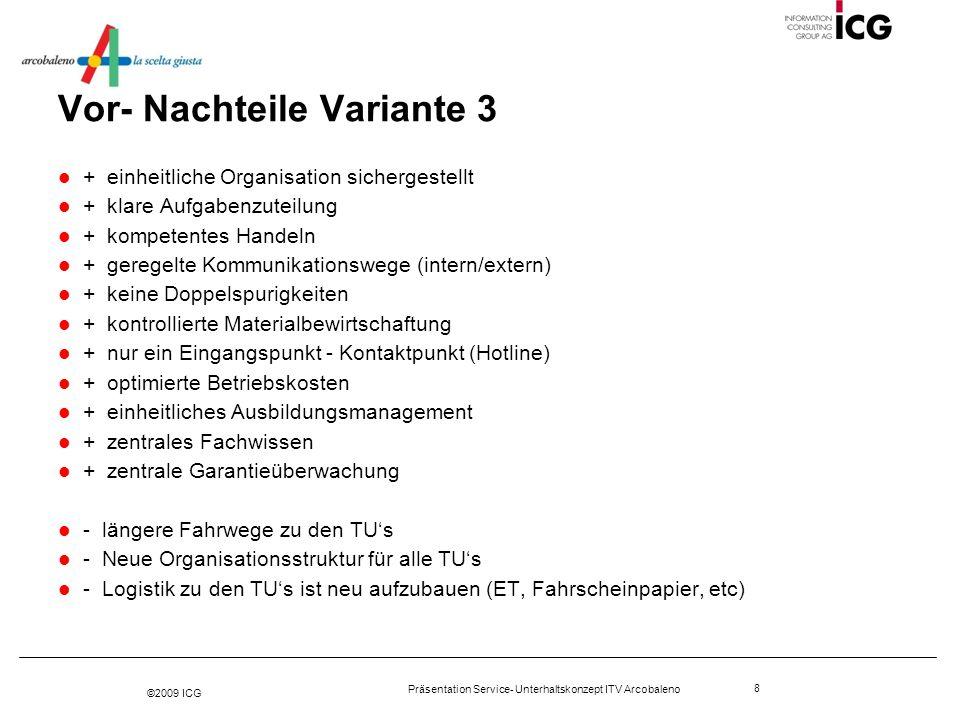 ©2009 ICG Präsentation Service- Unterhaltskonzept ITV Arcobaleno 9 Empfehlung der Projektleitung Service- und Unterhaltskonzept nach Variante 3 auf Basis der Betriebsprozesse umsetzen