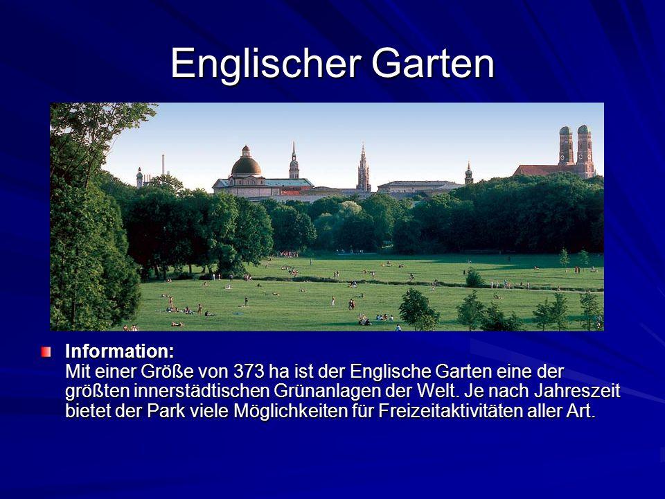 Englischer Garten Information: Mit einer Größe von 373 ha ist der Englische Garten eine der größten innerstädtischen Grünanlagen der Welt.