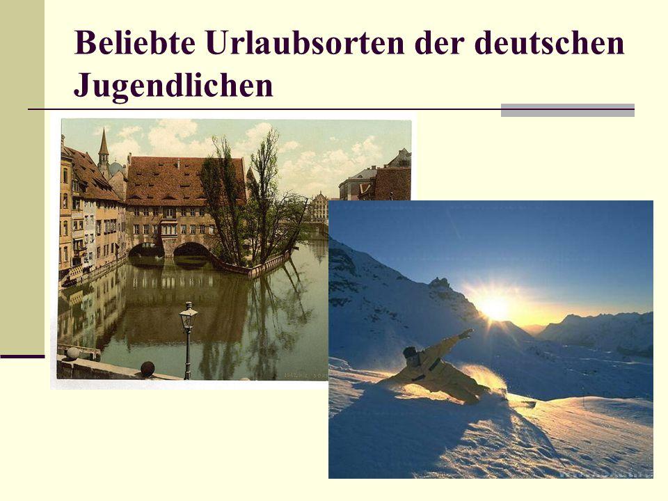 Beliebte Urlaubsorten der deutschen Jugendlichen