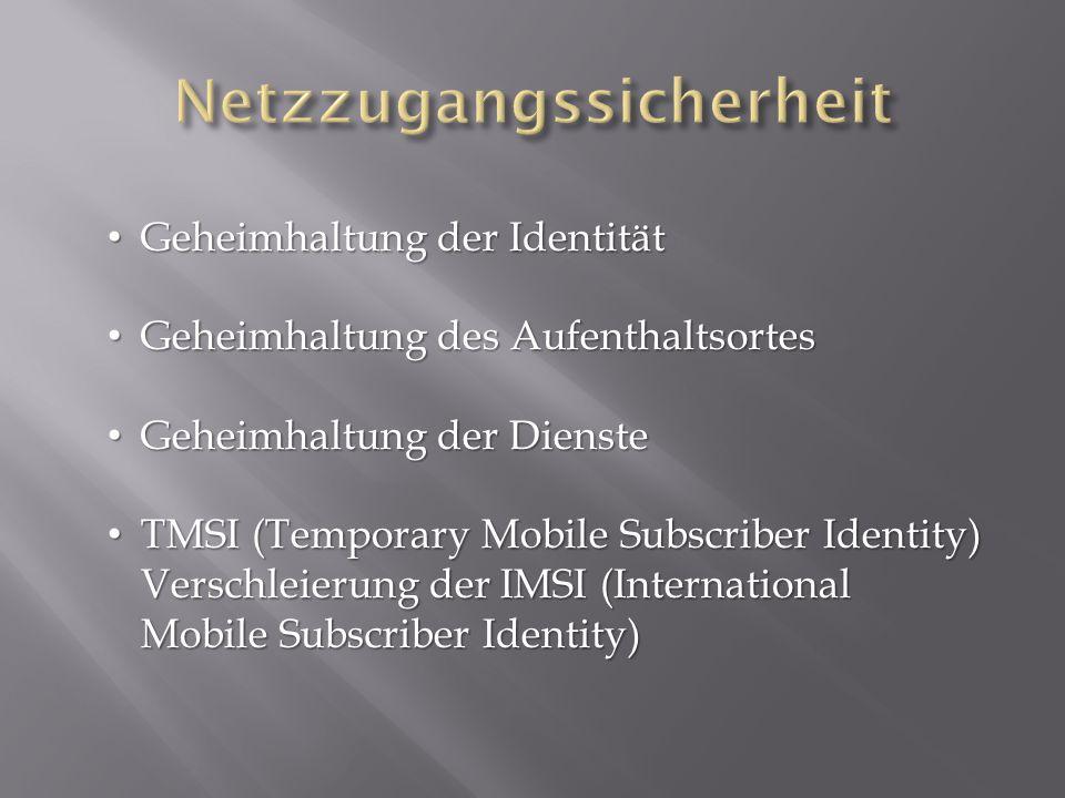 Geheimhaltung der Identität Geheimhaltung der Identität Geheimhaltung des Aufenthaltsortes Geheimhaltung des Aufenthaltsortes Geheimhaltung der Dienste Geheimhaltung der Dienste TMSI (Temporary Mobile Subscriber Identity) Verschleierung der IMSI (International Mobile Subscriber Identity) TMSI (Temporary Mobile Subscriber Identity) Verschleierung der IMSI (International Mobile Subscriber Identity)