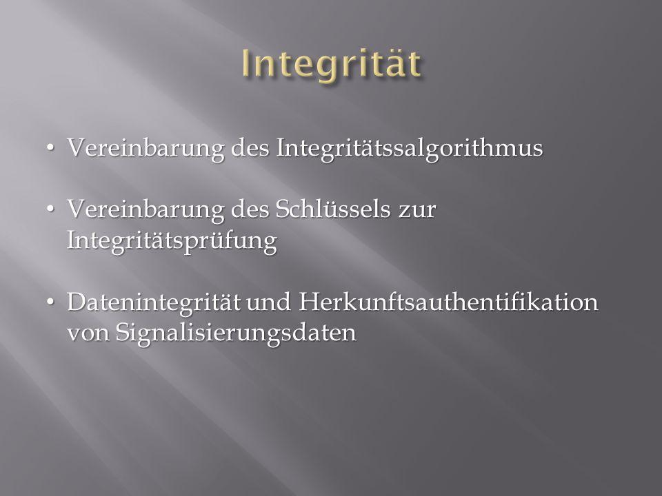 Vereinbarung des Integritätssalgorithmus Vereinbarung des Integritätssalgorithmus Vereinbarung des Schlüssels zur Integritätsprüfung Vereinbarung des Schlüssels zur Integritätsprüfung Datenintegrität und Herkunftsauthentifikation von Signalisierungsdaten Datenintegrität und Herkunftsauthentifikation von Signalisierungsdaten