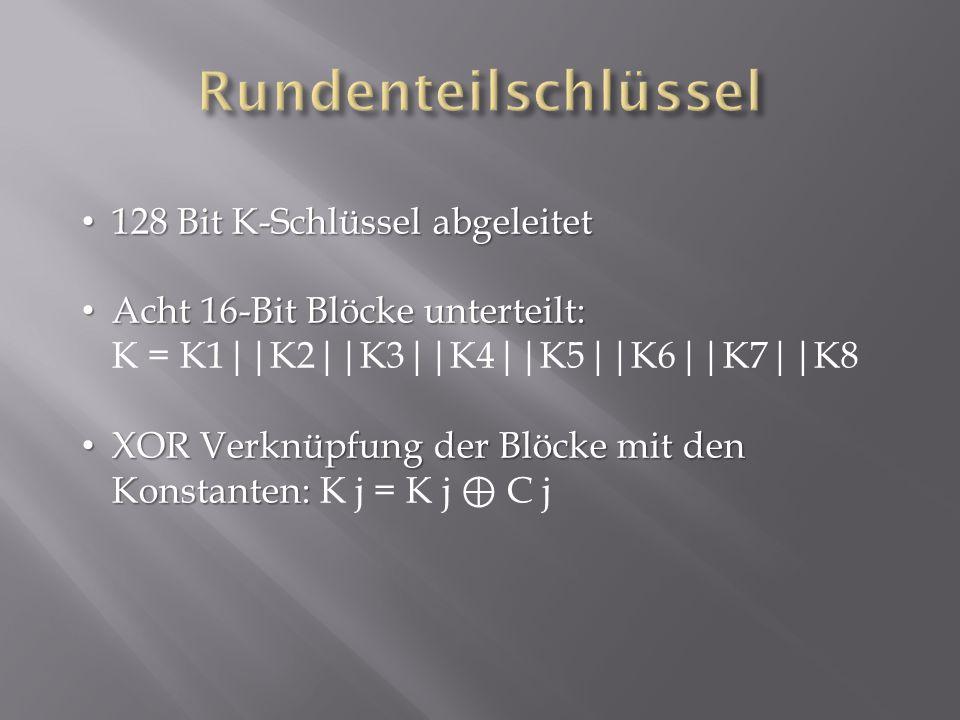 128 Bit K-Schlüssel abgeleitet 128 Bit K-Schlüssel abgeleitet Acht 16-Bit Blöcke unterteilt: Acht 16-Bit Blöcke unterteilt: K = K1||K2||K3||K4||K5||K6||K7||K8 XOR Verknüpfung der Blöcke mit den Konstanten: XOR Verknüpfung der Blöcke mit den Konstanten: K j = K j ⊕ C j