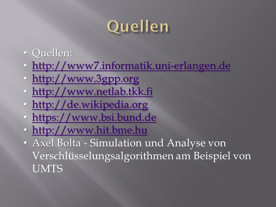 Quellen: Quellen: http://www7.informatik.uni-erlangen.de http://www7.informatik.uni-erlangen.de http://www7.informatik.uni-erlangen.de http://www.3gpp.org http://www.3gpp.org http://www.3gpp.org http://www.netlab.tkk.fi http://www.netlab.tkk.fi http://www.netlab.tkk.fi http://de.wikipedia.org http://de.wikipedia.org http://de.wikipedia.org https://www.bsi.bund.de https://www.bsi.bund.de https://www.bsi.bund.de http://www.hit.bme.hu http://www.hit.bme.hu http://www.hit.bme.hu Axel Bolta - Axel Bolta - Simulation und Analyse von Verschlüsselungsalgorithmen am Beispiel von UMTS