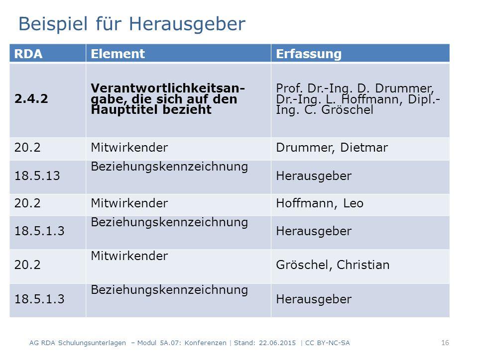 16 RDAElementErfassung 2.4.2 Verantwortlichkeitsan- gabe, die sich auf den Haupttitel bezieht Prof. Dr.-Ing. D. Drummer, Dr.-Ing. L. Hoffmann, Dipl.-
