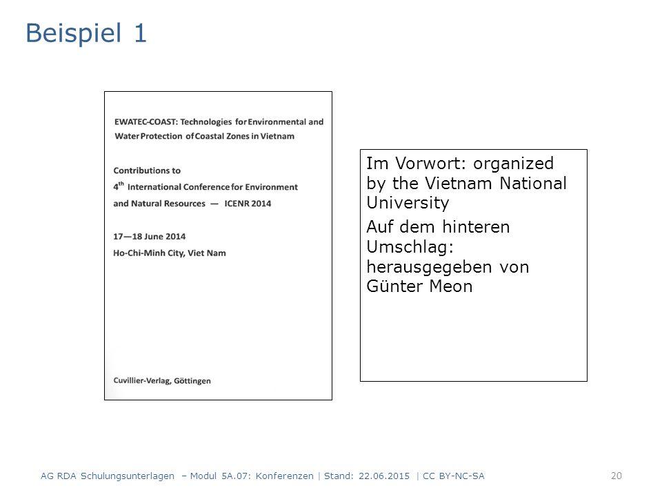 20 Im Vorwort: organized by the Vietnam National University Auf dem hinteren Umschlag: herausgegeben von Günter Meon Titelblatt(scan) Beispiel 1 AG RD