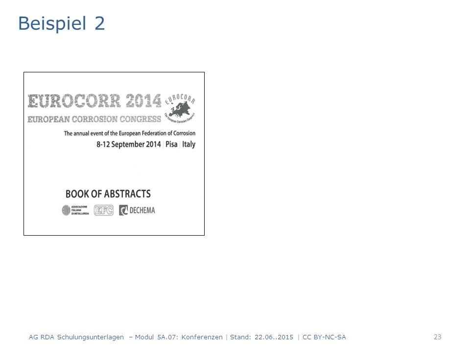23 Beispiel 2 AG RDA Schulungsunterlagen – Modul 5A.07: Konferenzen | Stand: 22.06..2015 | CC BY-NC-SA