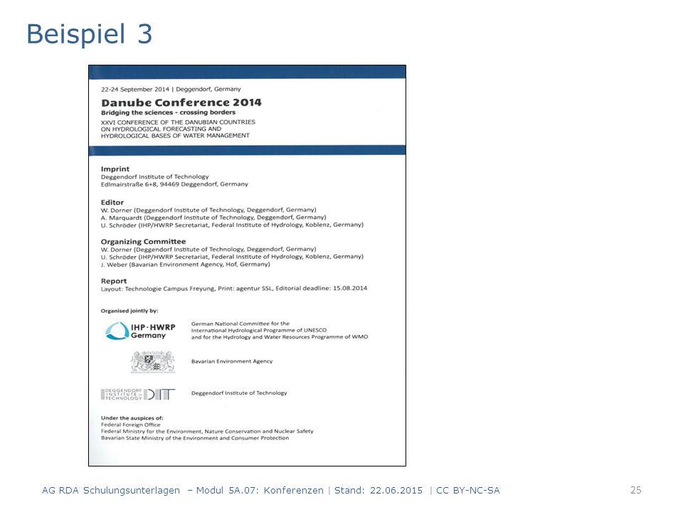 25 Beispiel 3 AG RDA Schulungsunterlagen – Modul 5A.07: Konferenzen | Stand: 22.06.2015 | CC BY-NC-SA