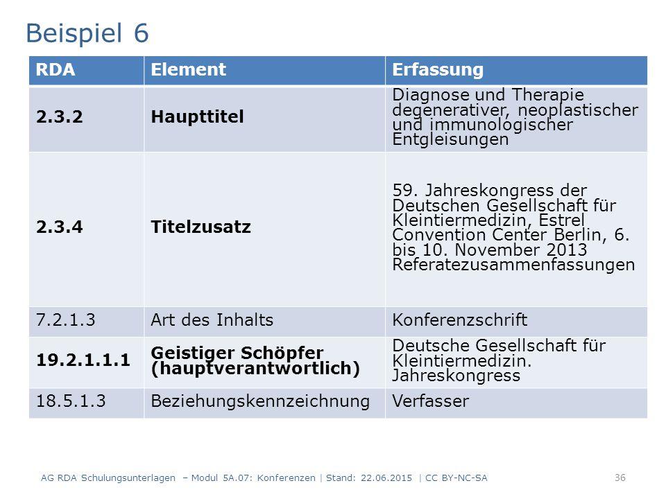 36 RDAElementErfassung 2.3.2Haupttitel Diagnose und Therapie degenerativer, neoplastischer und immunologischer Entgleisungen 2.3.4Titelzusatz 59.