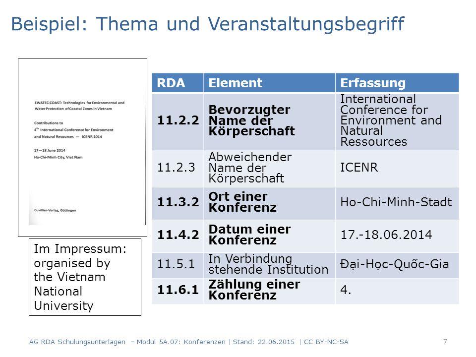 7 RDAElementErfassung 11.2.2 Bevorzugter Name der Körperschaft International Conference for Environment and Natural Ressources 11.2.3 Abweichender Nam