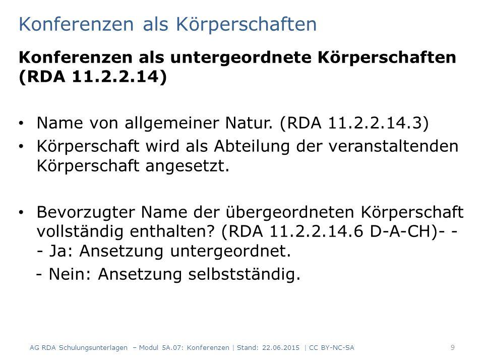 Konferenzen als Körperschaften Konferenzen als untergeordnete Körperschaften (RDA 11.2.2.14) Name von allgemeiner Natur. (RDA 11.2.2.14.3) Körperschaf