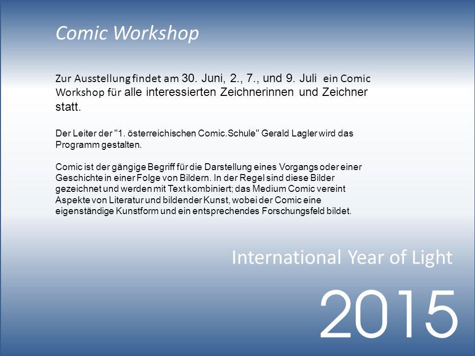 Comic Workshop Zur Ausstellung findet am 30. Juni, 2., 7., und 9.