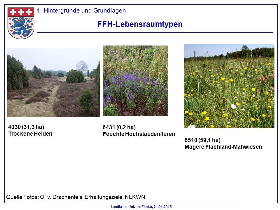 Landkreis Uelzen, Eimke, 21.04.2015 FFH-Lebensraumtypen 6431 (0,2 ha) Feuchte Hochstaudenfluren 1. Hintergründe und Grundlagen 4030 (31,3 ha) Trockene