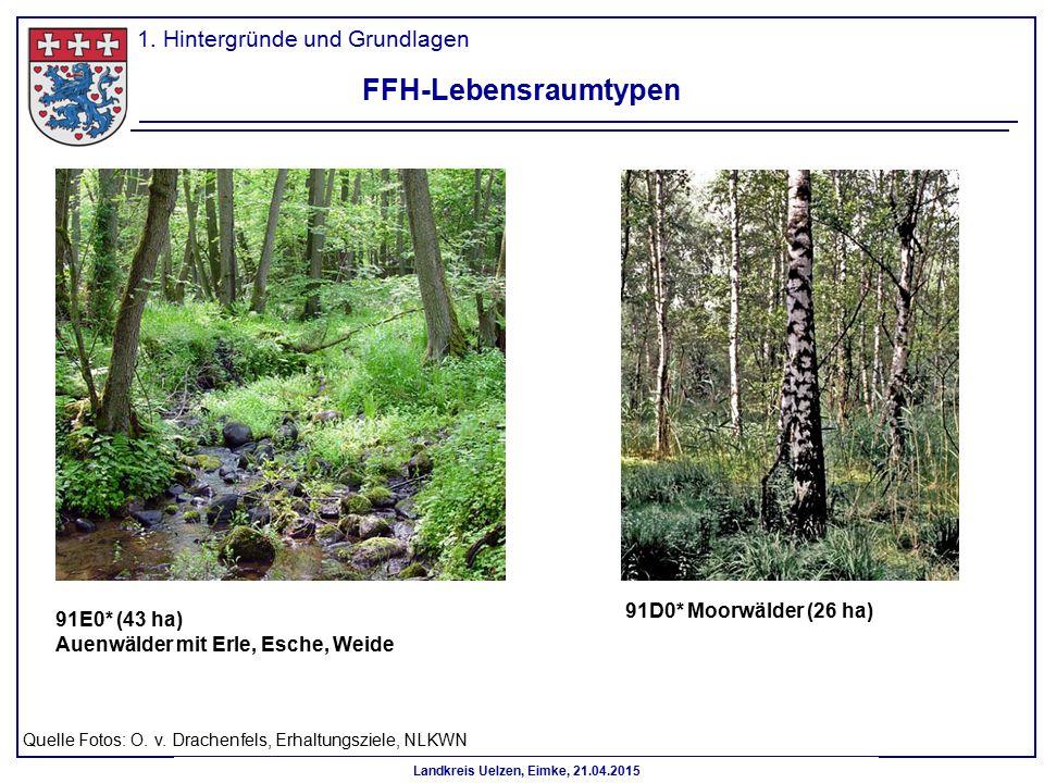 Landkreis Uelzen, Eimke, 21.04.2015 FFH-Lebensraumtypen 91D0* Moorwälder (26 ha) 91E0* (43 ha) Auenwälder mit Erle, Esche, Weide Quelle Fotos: O. v. D