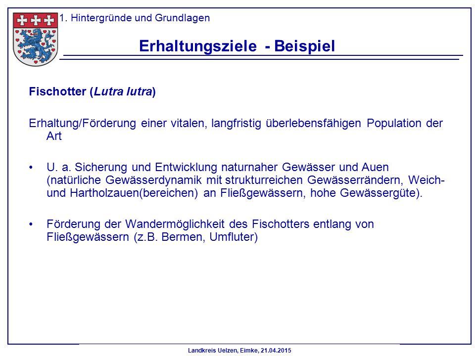 Landkreis Uelzen, Eimke, 21.04.2015 Erhaltungsziele - Beispiel Fischotter (Lutra lutra) Erhaltung/Förderung einer vitalen, langfristig überlebensfähig