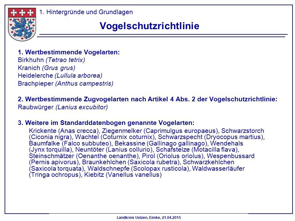 Landkreis Uelzen, Eimke, 21.04.2015 Vogelschutzrichtlinie 1. Wertbestimmende Vogelarten: Birkhuhn (Tetrao tetrix) Kranich (Grus grus) Heidelerche (Lul