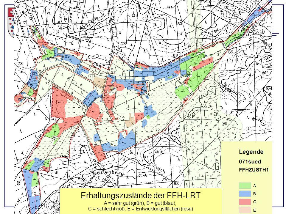 Landkreis Uelzen, Eimke, 21.04.2015 Erhaltungszustände der FFH-LRT A = sehr gut (grün), B = gut (blau), C = schlecht (rot), E = Entwicklungsflächen (r