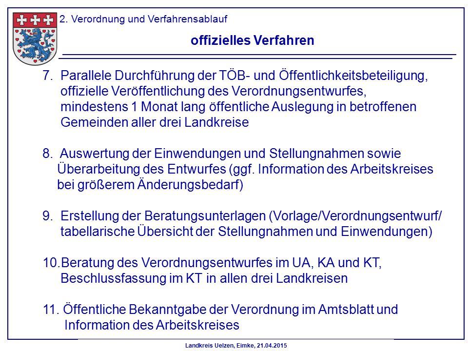 Landkreis Uelzen, Eimke, 21.04.2015 2. Verordnung und Verfahrensablauf offizielles Verfahren 7. Parallele Durchführung der TÖB- und Öffentlichkeitsbet