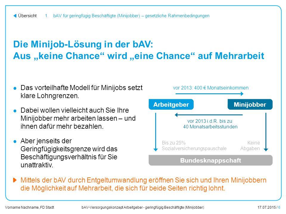 bAV-Versorgungskonzept Arbeitgeber - geringfügig Beschäftigte (Minijobber)17.07.2015 / 27 Vorname Nachname, FD Stadt Übersicht Der nächste Schritt Unsere gemeinsame Vorgehensweise zur Umsetzung Ihrer bAV-Lösung.