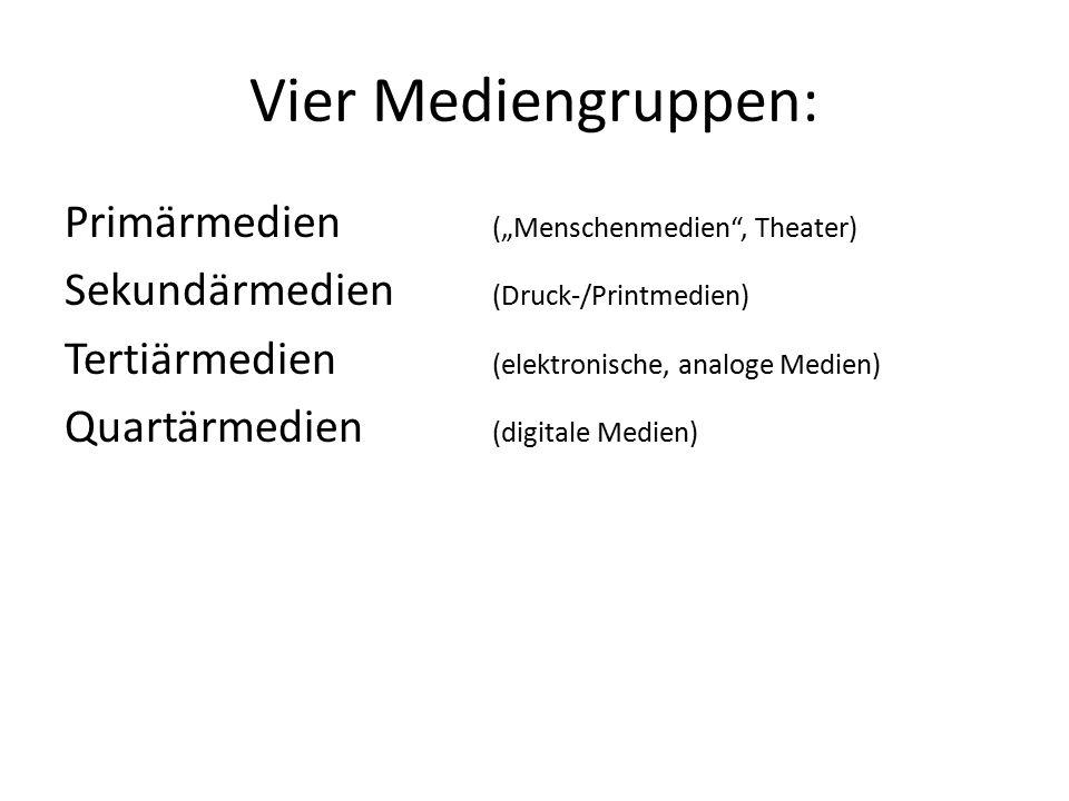 "Vier Mediengruppen: Primärmedien (""Menschenmedien"", Theater) Sekundärmedien (Druck-/Printmedien) Tertiärmedien (elektronische, analoge Medien) Quartär"