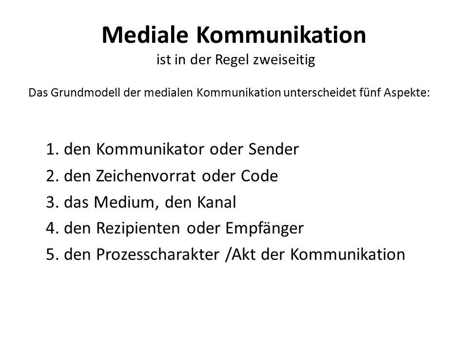 Mediale Kommunikation ist in der Regel zweiseitig Das Grundmodell der medialen Kommunikation unterscheidet fünf Aspekte: 1. den Kommunikator oder Send
