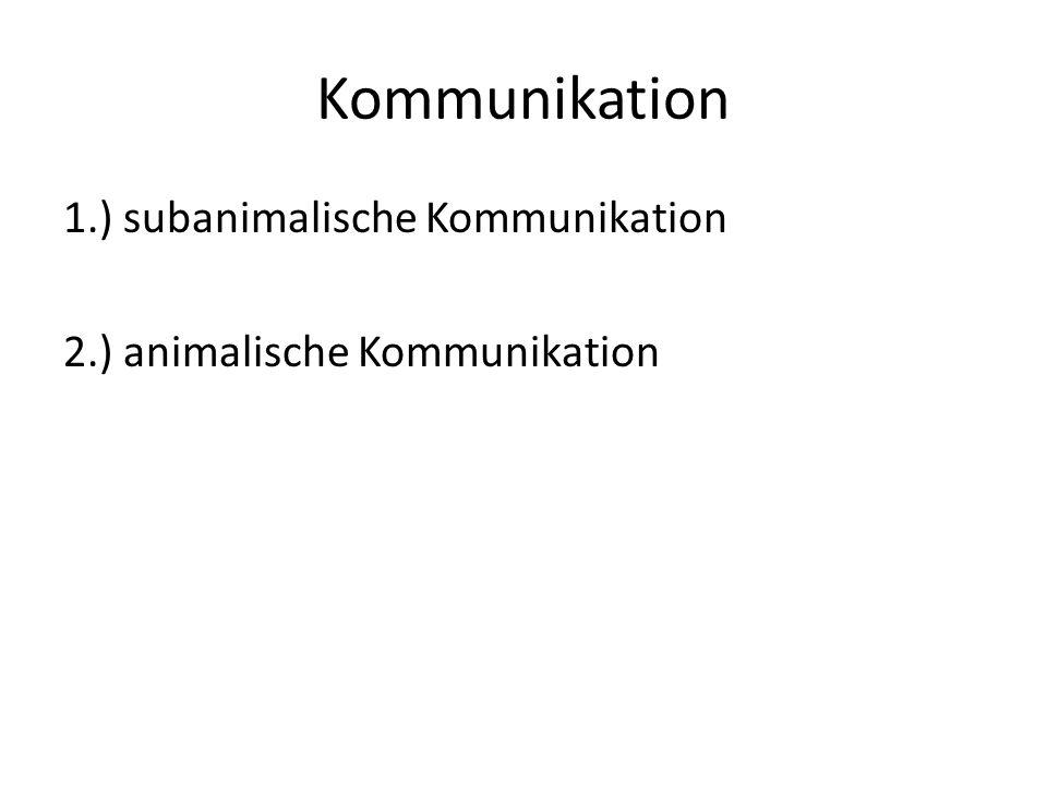 Kommunikation 1.) subanimalische Kommunikation 2.) animalische Kommunikation