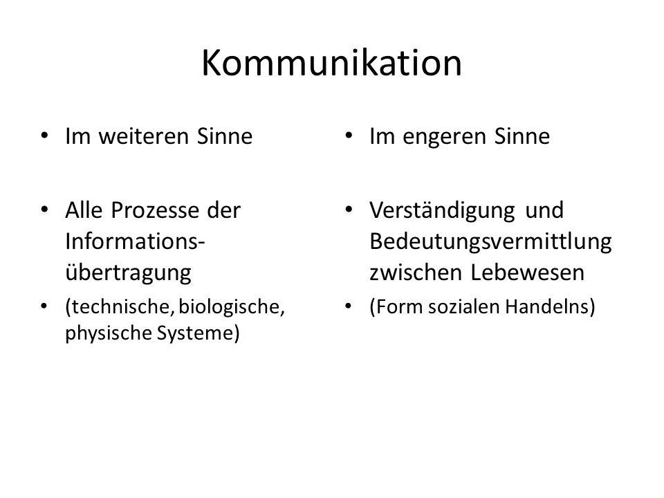 Kommunikation Im weiteren Sinne Alle Prozesse der Informations- übertragung (technische, biologische, physische Systeme) Im engeren Sinne Verständigun